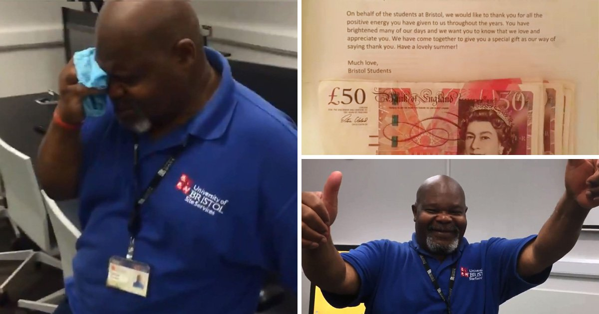 Cleaner overcome with emotion after students raise money to send him on holiday