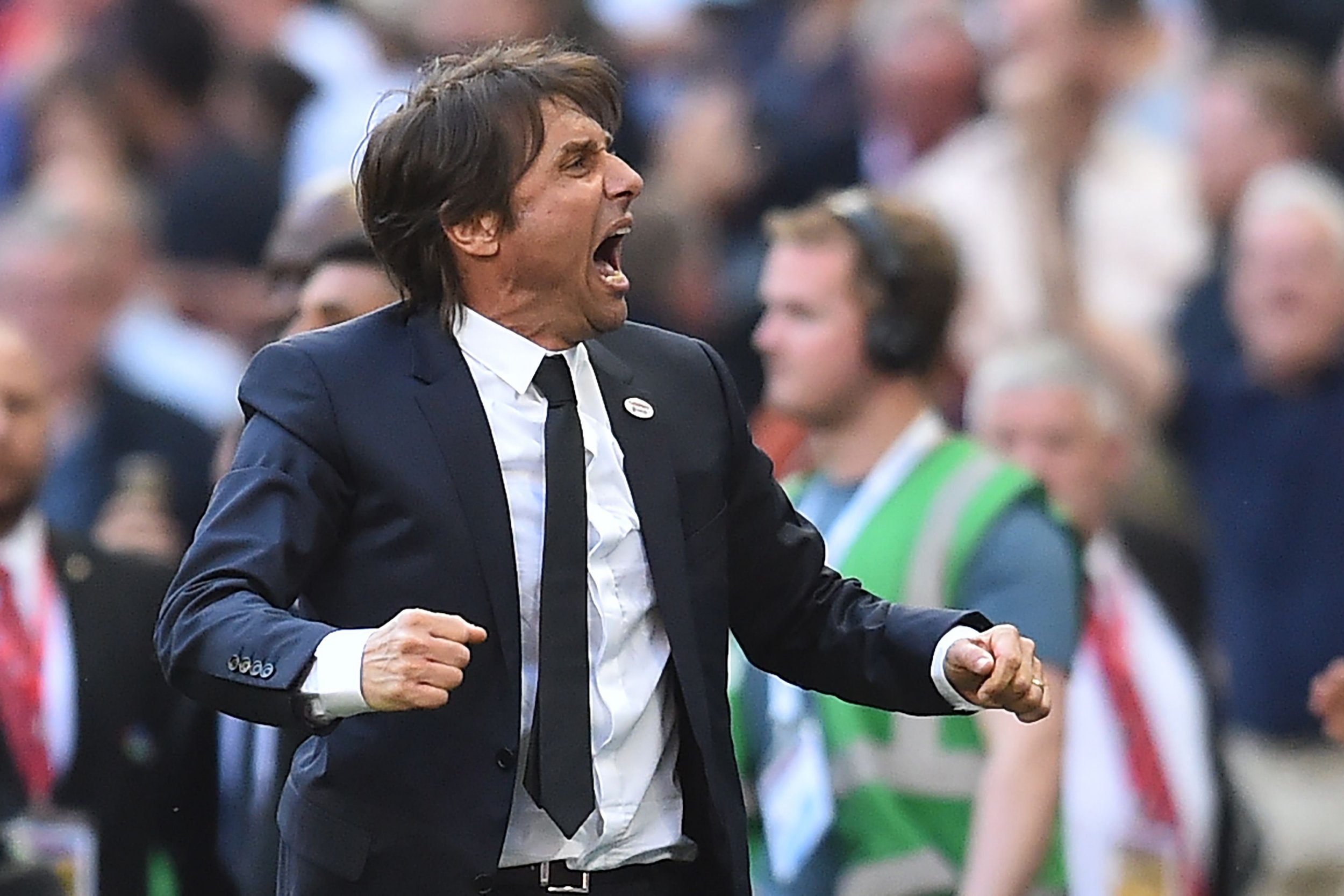 Chelsea's Italian head coach Antonio Conte reacts to their victory on the final whistle in the English FA Cup final football match between Chelsea and Manchester United at Wembley stadium in London on May 19, 2018. Chelsea won the game 1-0. / AFP PHOTO / Glyn KIRK / NOT FOR MARKETING OR ADVERTISING USE / RESTRICTED TO EDITORIAL USEGLYN KIRK/AFP/Getty Images