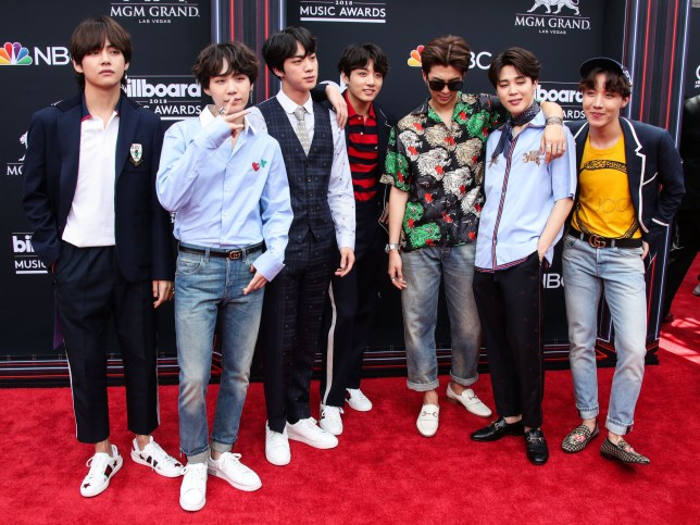 LAS VEGAS, NV, USA - MAY 20: 2018 Billboard Music Awards held at the MGM Grand Garden Arena on May 20, 2018 in Las Vegas, Nevada, United States. (Photo by Xavier Collin/Image Press Agency/Splash News) Pictured: V, SUGA, Jin, Jung Kook, RM, Jimin, j-hope, BTS Ref: SPL1701306 200518 Picture by: Xavier Collin/IPA/Splash News Splash News and Pictures Los Angeles: 310-821-2666 New York: 212-619-2666 London: 870-934-2666 photodesk@splashnews.com