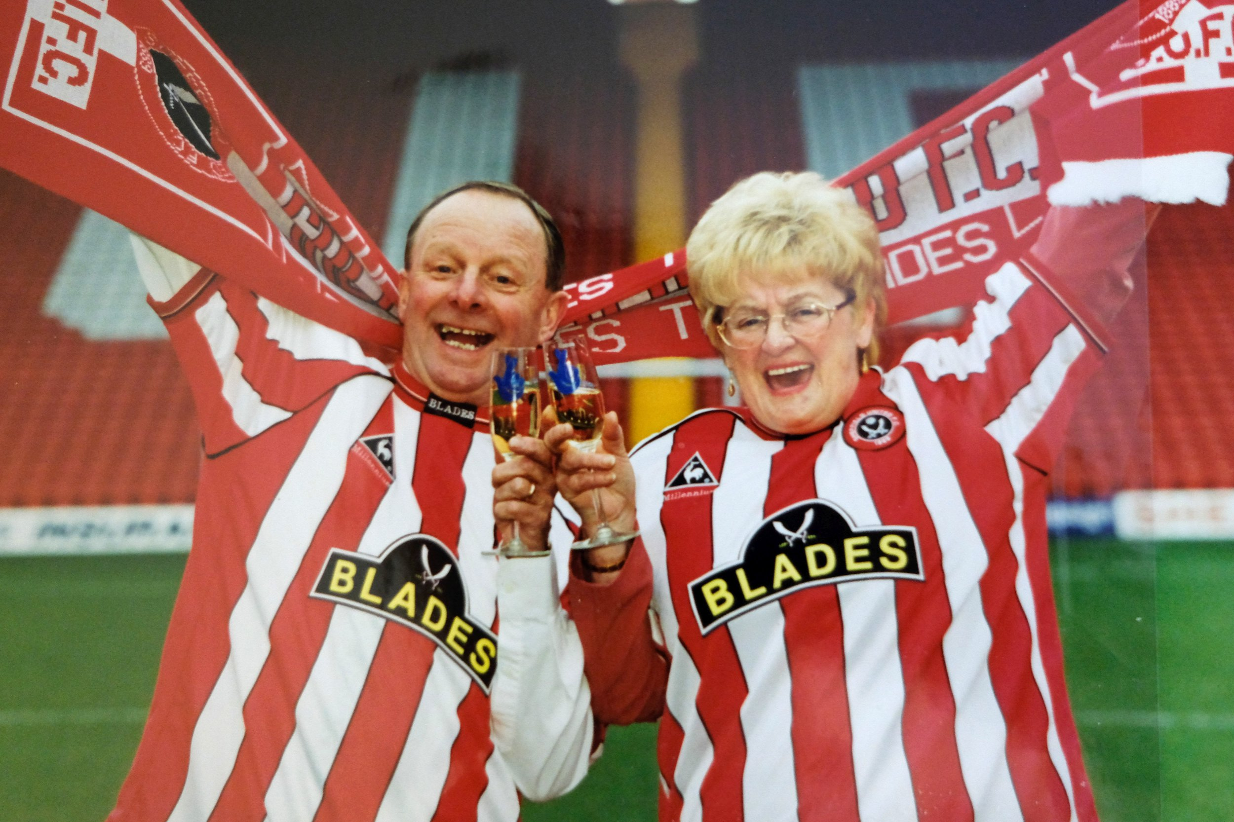 Barbara Wragg, and her husband Ray, of Sheffield, January 2000 , at Bramall Lane when they won ?7.6m on the National Lottery . The couple hit national headlines when they gave ?6m of their winnings to charity. See Rossparry story RPYLOTTERY: