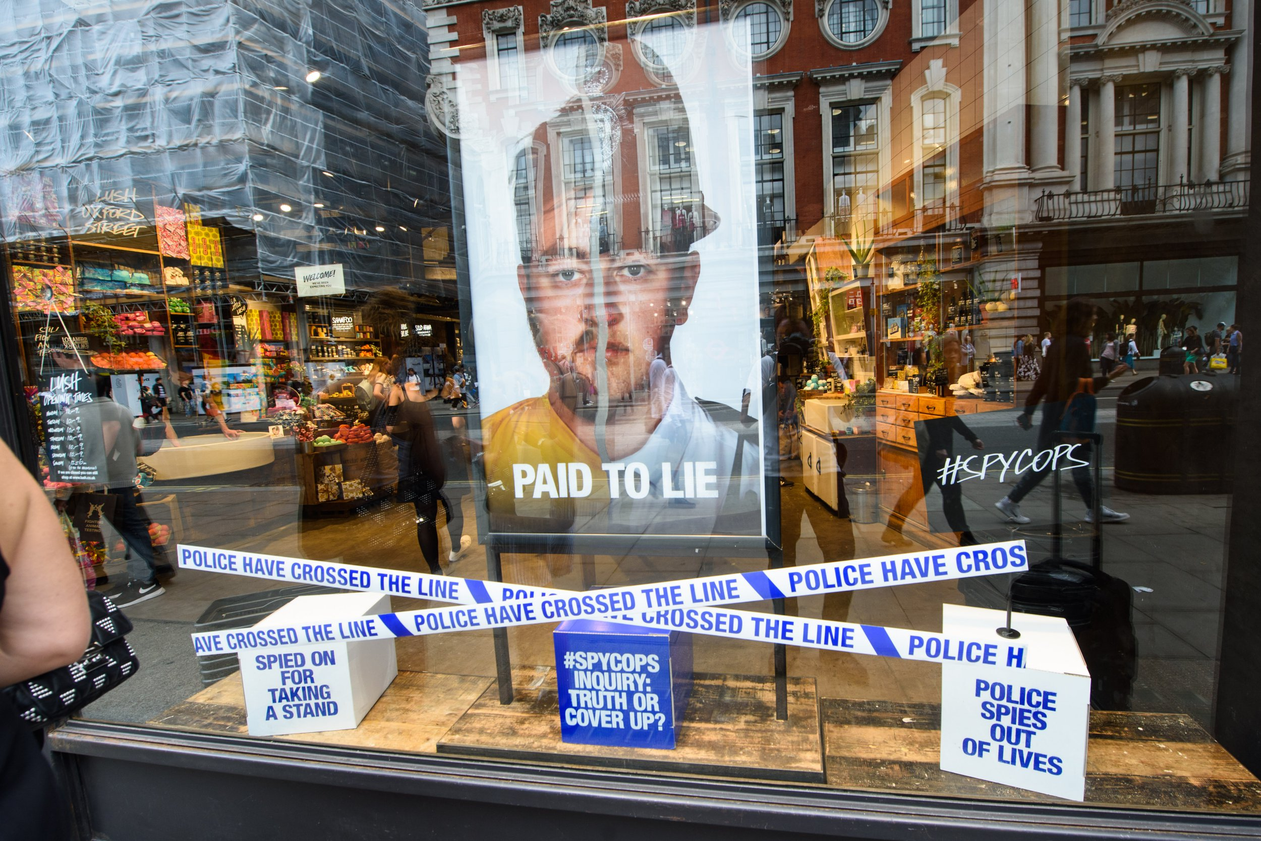 General view of Lush cosmetics shop in Oxford Street, London, featuring a controiversial window display referencing undercover police tactics. Picture date: Friday June 1st, 2018. Photo credit should read: Matt Crossick/ EMPICS Entertainment.