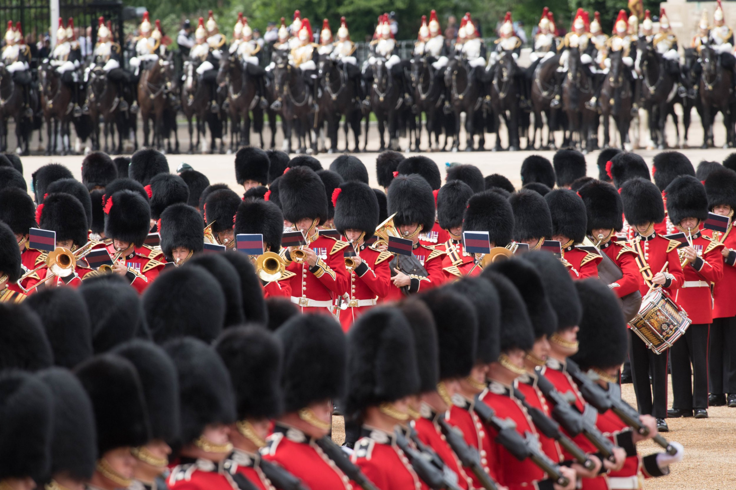 Soldiers perform during the Colonel's Review, which is the final rehearsal for Trooping the Colour, the Queen's annual birthday parade, in Central London. PRESS ASSOCIATION Photo. Picture date: Saturday June 2, 2018. Photo credit should read: Stefan Rousseau/PA Wire