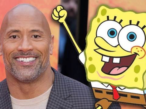 Dwayne Johnson tells beloved cartoon character Spongebob Squarepants his nickname is 'Beef Piston'