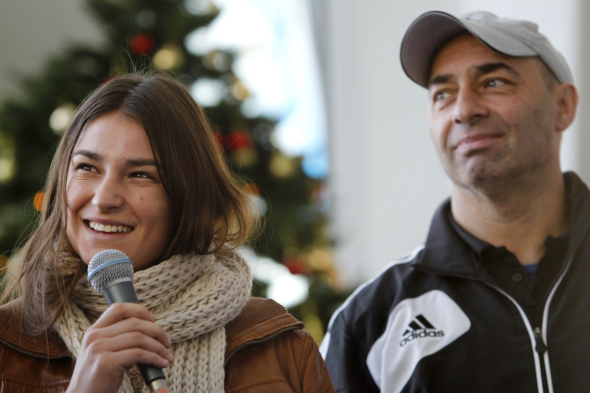 File photo dated 18/12/12 of boxing coach Pete Taylor with his daughter, Olympic gold medallist Katie Taylor. Mr Taylor has been named as one of three men shot at the Bray Boxing Club, Bray, Co. Wicklow. PRESS ASSOCIATION Photo. Issue date: Tuesday June 5, 2018. One man, aged 30, has died in the early morning shooting which left Mr Taylor and one other man injured. See PA story IRISH Shooting. Photo credit should read: Julien Behal/PA Wire