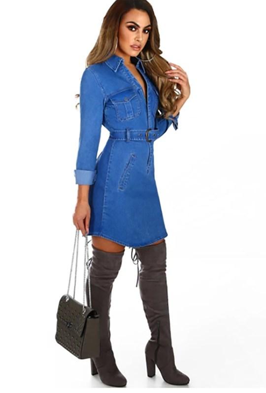 Where To Buy Michelle Keegan Style Bodycon Denim Dresses