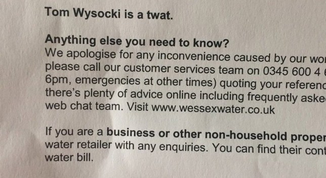 (Picture: Alana Barke)Man called a tw*t by his water company