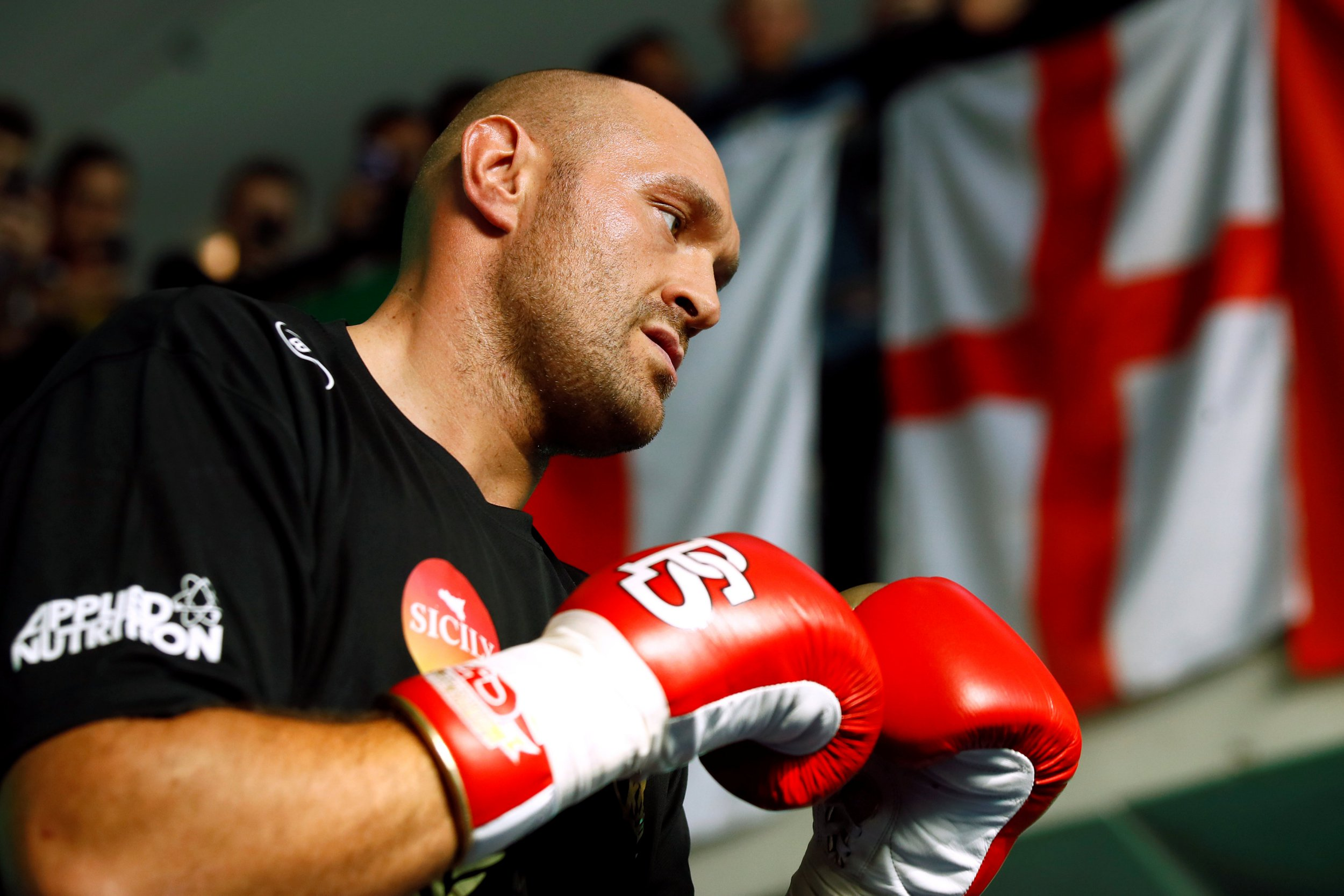 Boxing - Tyson Fury & Sefer Seferi public work-outs - National Football Museum, Manchester, Britain - June 5, 2018 Tyson Fury during his work-out Action Images via Reuters/Jason Cairnduff