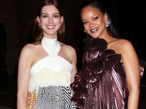 Rihanna was Anne Hathaway's hype woman on set as she complimented her post-baby bum