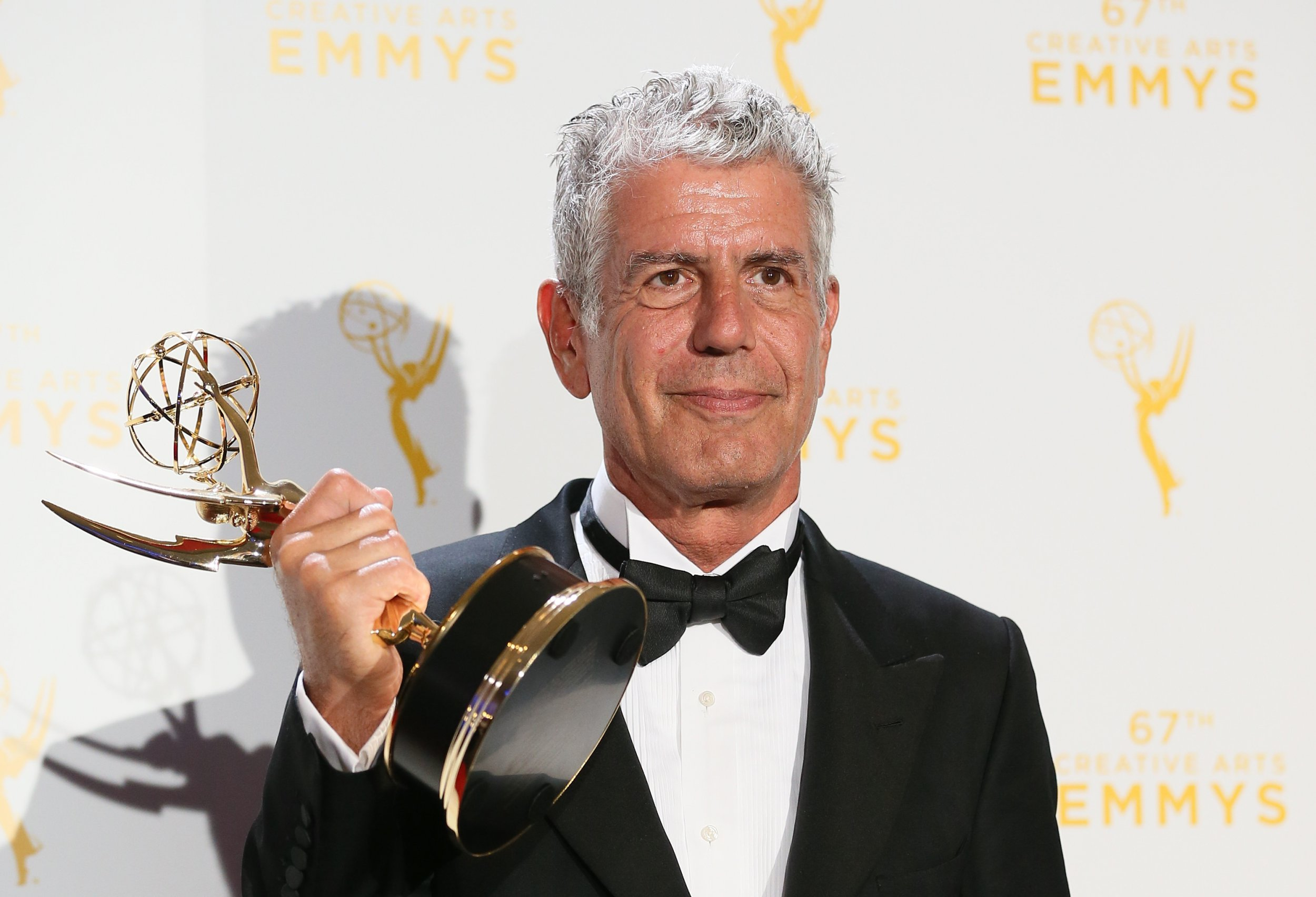LOS ANGELES, CA - SEPTEMBER 12: Anthony Bourdain poses in the press room during the 2015 Creative Arts Emmy Awards at Microsoft Theater on September 12, 2015 in Los Angeles, California. (Photo by JB Lacroix/WireImage)