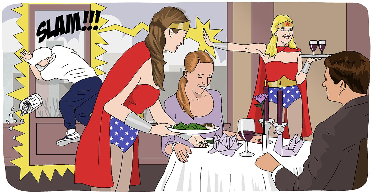 10 reasons why being a waitress makes you superhuman Food date super superwoman woman meal dinner waitress serve Dave Anderson for Metro.co.uk