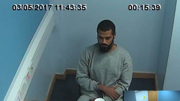 Metropolitan Police handout videograb dated 3/5/2017 taken from footage of Khalid Ali police interview after he was detained in Whitehall, London on April 27 last year. PRESS ASSOCIATION Photo. Issue date: Sunday November 29, 2015. Ali denies two charges of possessing explosives with intent abroad in 2012 and one charge of preparing terrorist acts in Britain. Photo credit should read: Metropolitan Police/PA Wire NOTE TO EDITORS: This handout photo may only be used in for editorial reporting purposes for the contemporaneous illustration of events, things or the people in the image or facts mentioned in the caption. Reuse of the picture may require further permission from the copyright holder.