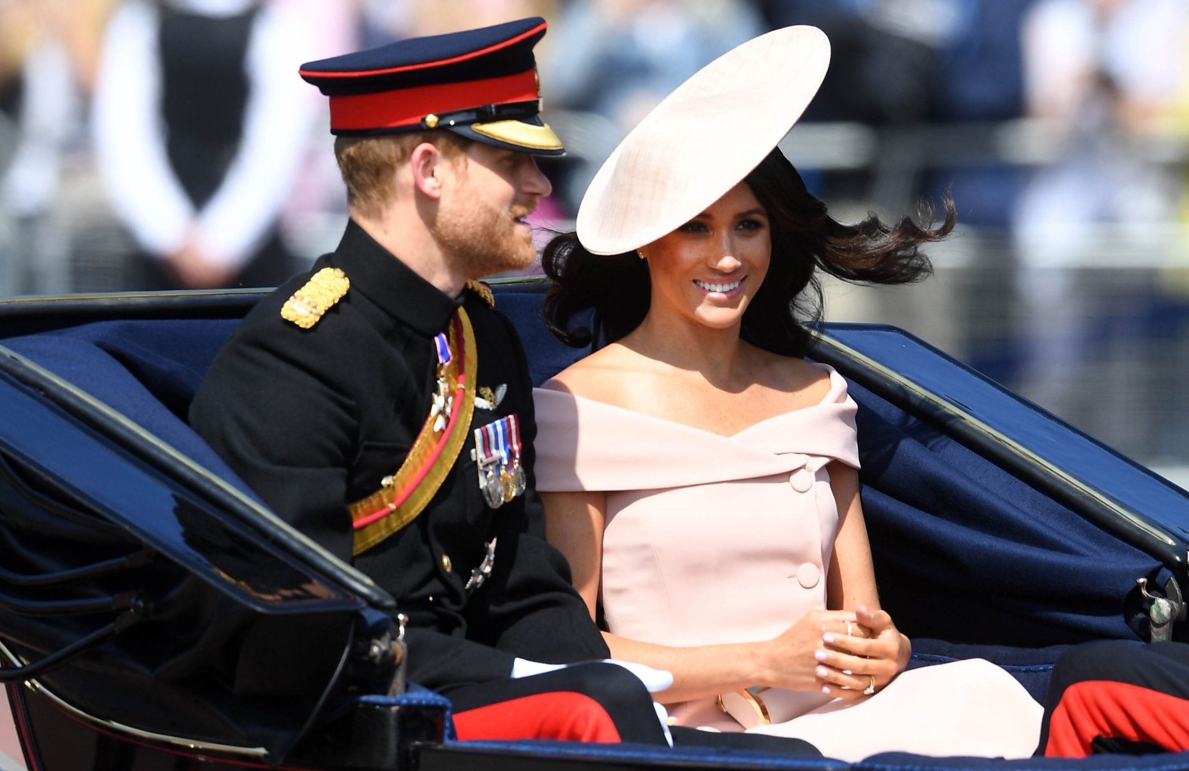 Image ?Licensed to i-Images Picture Agency. 09/06/2018. London, United Kingdom. Trooping the Colour. Prince Harry and Meghan Markle join Queen Elizabeth II accompanied by members of the Royal Family attend Trooping the Colour. Where over 1400 parading soldiers, 200 horses and 400 musicians come together each June in a great display of military precision, horsemanship and fanfare to mark The Queen's official birthday.Picture by Andrew Parsons / i-Images