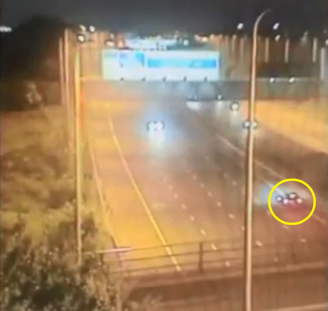 A man has been arrested after a car drove the wrong way down two motorways for EIGHT miles. Shocking footage shows the black Mercedes joining the westbound carriageway of the M62 at Junction 8 at around 1.40am this morning [June 9]. Caption: CCTV stills showing a Mercedes (circled) driving the wrong way down the M62 and M6 motorways in Cheshire and Greater Manchester