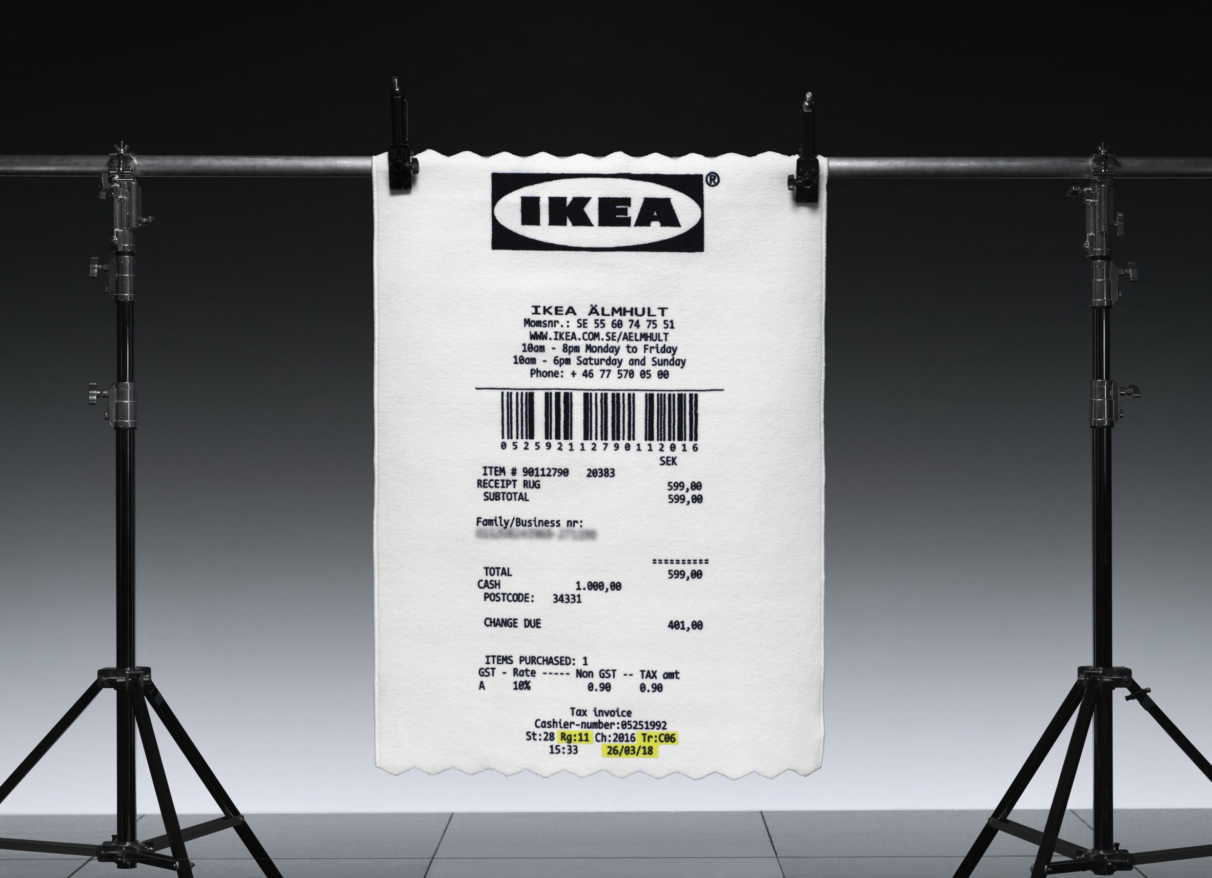 So, how about buying this Ikea shopping receipt rug for your living room?