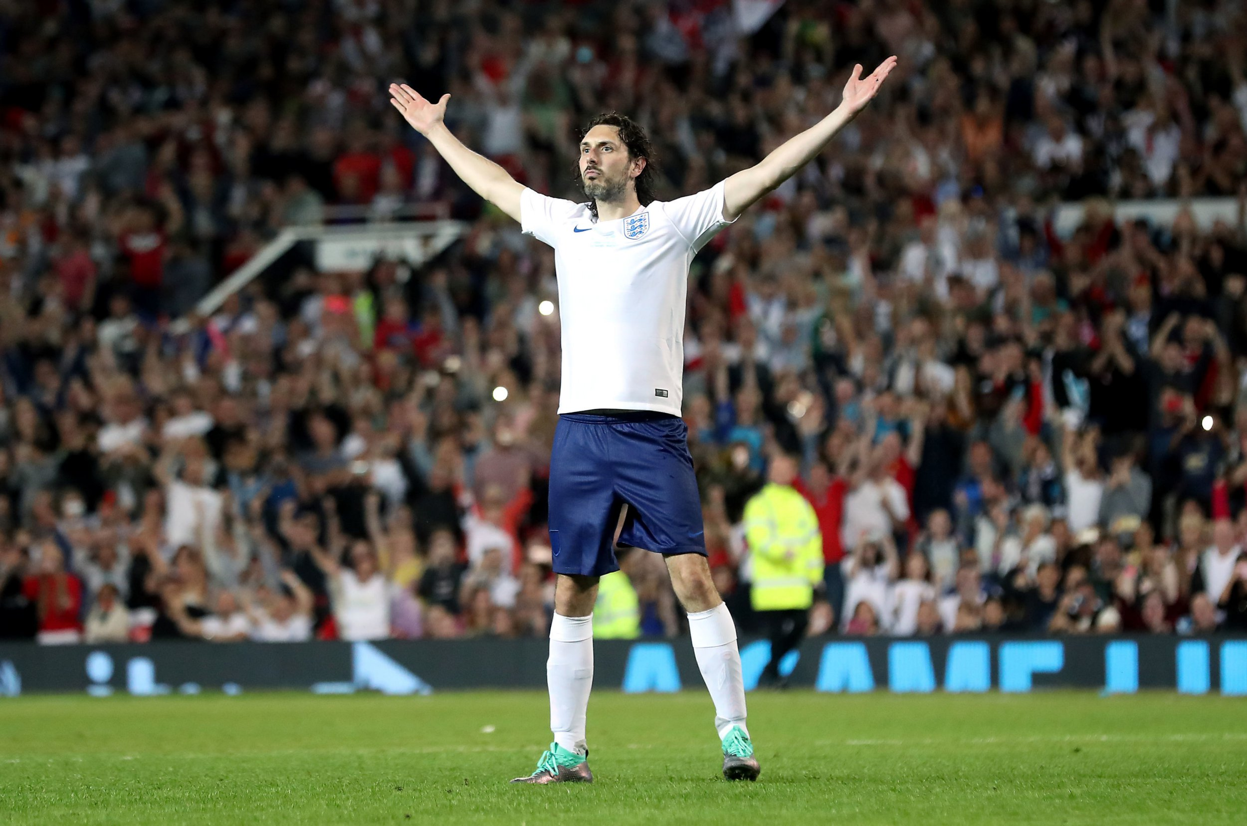 England's Blake Harrison celebrate scoring the winning penalty in the shootout during the UNICEF Soccer Aid match at Old Trafford, Manchester. PRESS ASSOCIATION Photo. Picture date: Sunday June 10, 2018. See PA story SOCCER Aid. Photo credit should read: Martin Rickett/PA Wire.