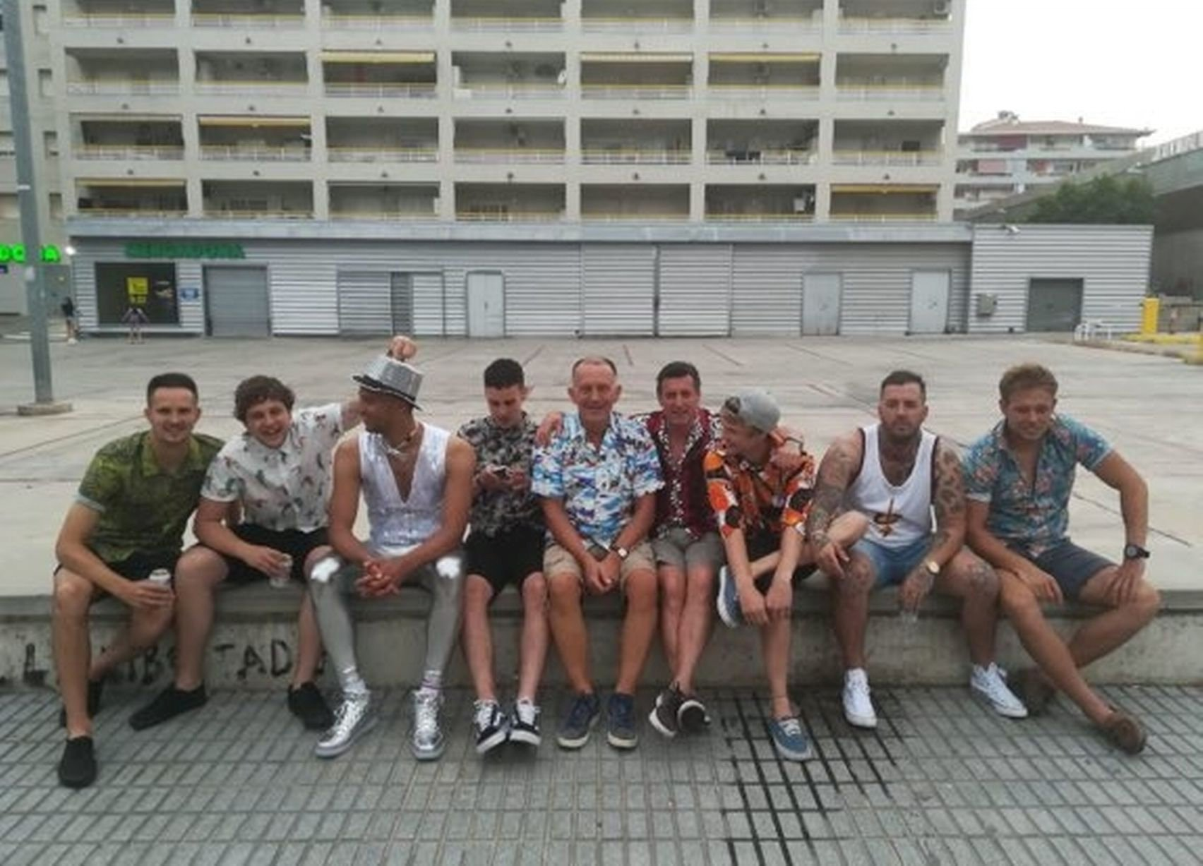 Harry and his friends on their stag do, Harry is second from the left . See SWNS story SWBAG; An easyJet passenger is furious after his bag was badly damaged during a flight - leaving his inside clothes inside ripped and torn. Harry Drew, 26, only took hand luggage on his trip to Barcelona but was told his bag would have to go in the hold for the return flight. But when it come around carousel at Bristol Airport he could immediately see the bag was ripped. And when he looked inside he found number items of clothing ruined - including a sentimental Exeter City football shirt given to him by his late uncle who recently died.