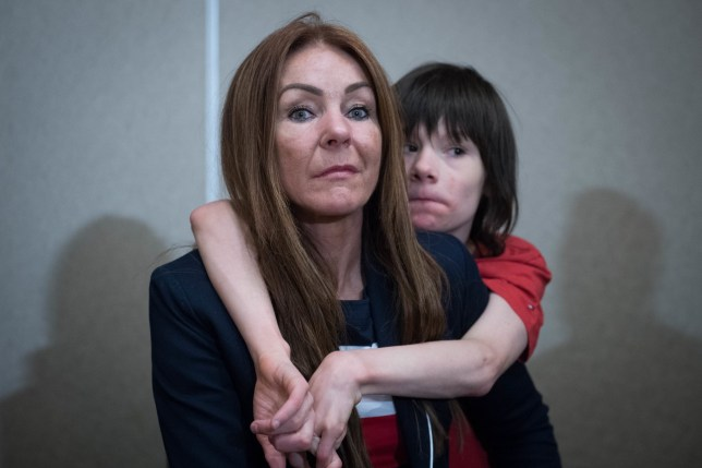 Charlotte Caldwell and her son Billy at Heathrow Airport after having a supply of cannabis oil used to treat his severe epilepsy confiscated on their return from Canada. PRESS ASSOCIATION Photo. Picture date: Monday June 11, 2018. Ms Caldwell made the trip to Toronto and back with 12-year-old Billy to get a six-month supply to treat up to 100 seizures a day, but said border officials took away the oil on Monday. See PA story POLITICS Epilepsy. Photo credit should read: Stefan Rousseau/PA Wire