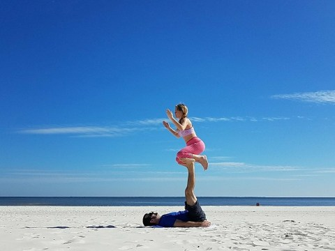 Deaf and blind man communicates with his wife through yoga