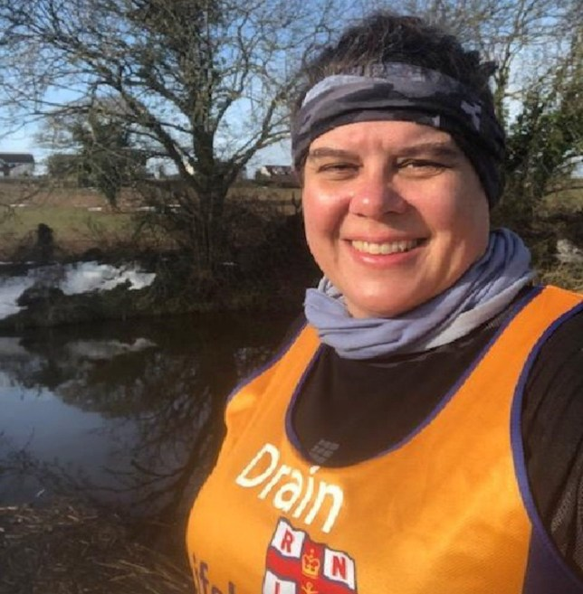 MERCURY PRESS. 13/06/18. Pictured: Karla Gregory during a run on Tiverton Canal. An iron-willed mum ran 18 miles of the London Marathon with a broken PELVIS after mistaking the agonising pain for a muscle cramp. Karla Gregory, 48, was just five miles into the world-famous run on April 22 when a twinge in her right thigh became noticeably painful. But the professional pet groomer put it down to muscle cramps as she had been standing for so long and carried on jogging. SEE MERCURY COPY