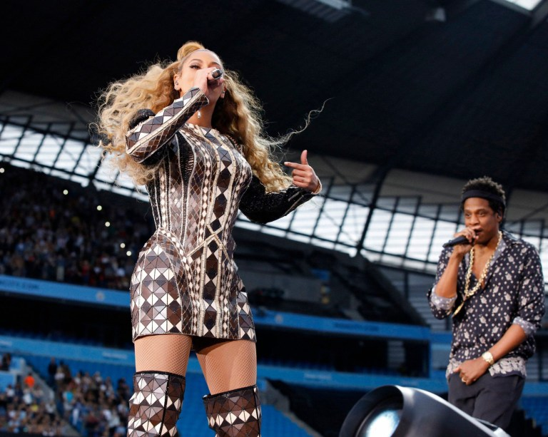 Mandatory Credit: Photo by PictureGroup/REX/Shutterstock (9715272c) Beyonce and Jay-Z Beyonce and Jay-Z in concert, 'On The Run II Tour', Etihad Stadium, Manchester, UK - 13 Jun 2018