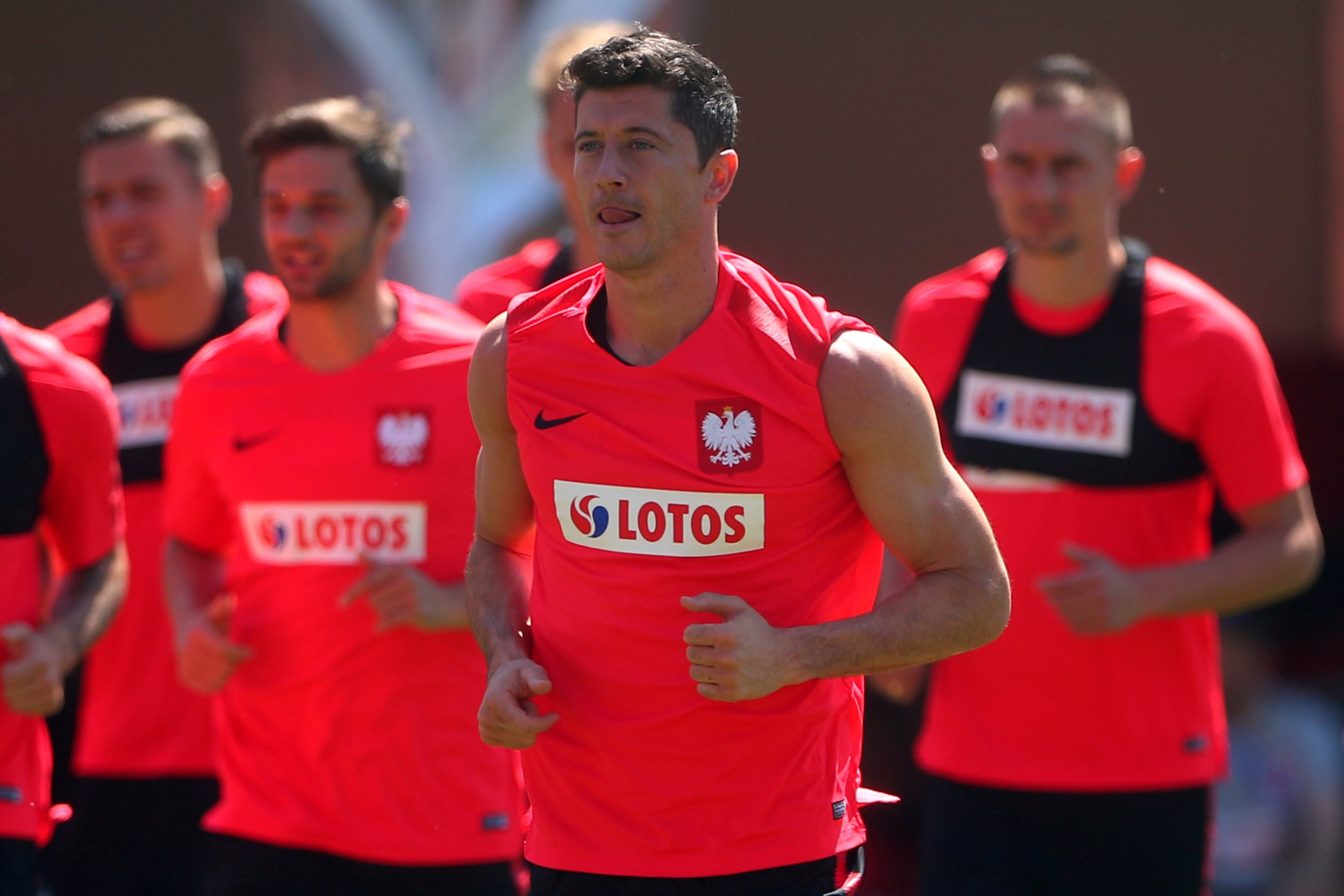 Soccer Football - World Cup - Poland Training - Poland Training Camp, Sochi, Russia - June 14, 2018 Poland's Robert Lewandowski during training REUTERS/Hannah McKay