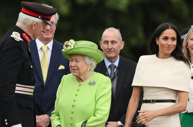 Queen Elizabeth II and the Duchess of Sussex (second right) arrive to open the new Mersey Gateway Bridge, in Widnes, Cheshire. PRESS ASSOCIATION Photo. Picture date: Thursday June 14, 2018. See PA story ROYAL Queen. Photo credit should read: Danny Lawson/PA Wire