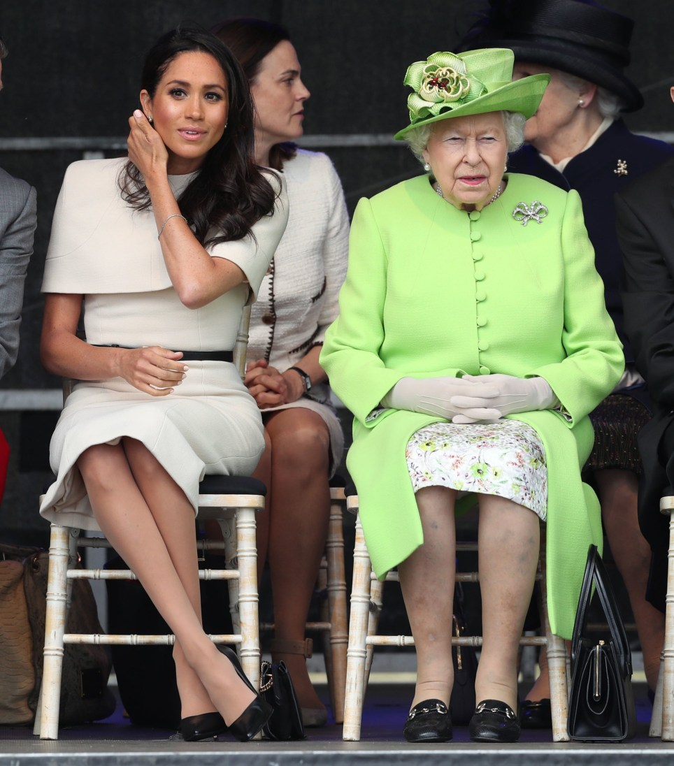 Queen Elizabeth II and the Duchess of Sussex at the opening of the new Mersey Gateway Bridge, in Widnes, Cheshire. PRESS ASSOCIATION Photo. Picture date: Thursday June 14, 2018. See PA story ROYAL Queen. Photo credit should read: Danny Lawson/PA Wire