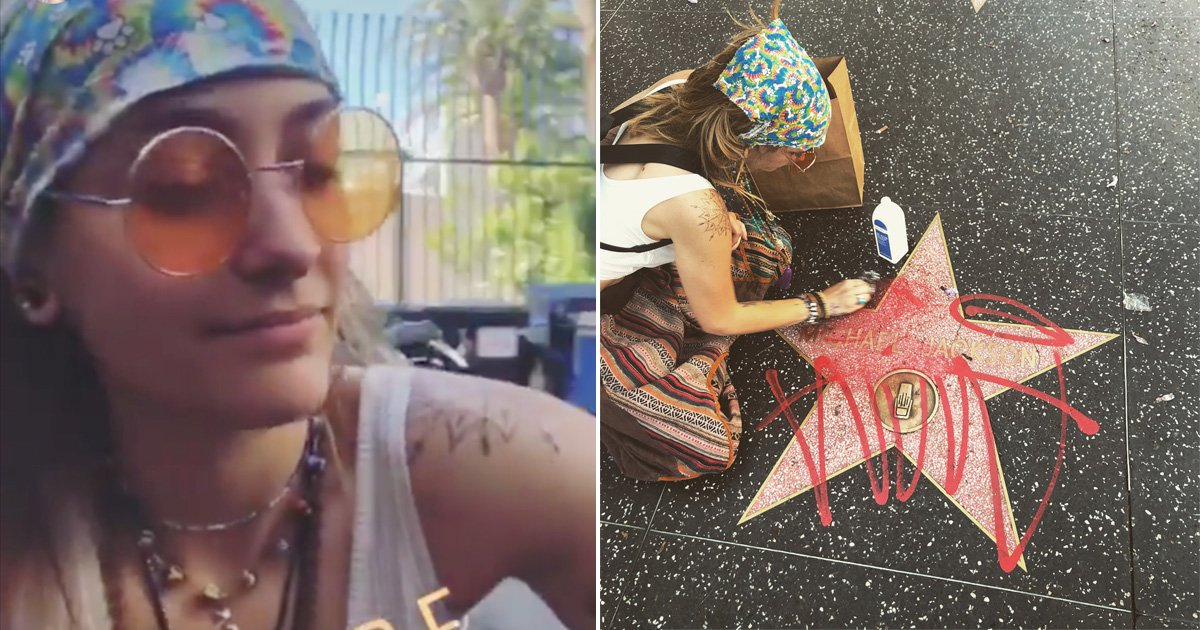 Paris cleans graffiti off Michael Jackson's Hollywood star in heartbreaking moment