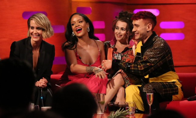 (left to right) Sarah Paulson, Rihanna, Helena Bonham Carter and Years & Years singer Olly Alexander during filming for the Graham Norton Show at BBC Studioworks in London, to be aired on BBC One on Friday. PRESS ASSOCIATION. Picture date: Thursday June 14, 2018. Photo credit should read: PA Images on behalf of So TV