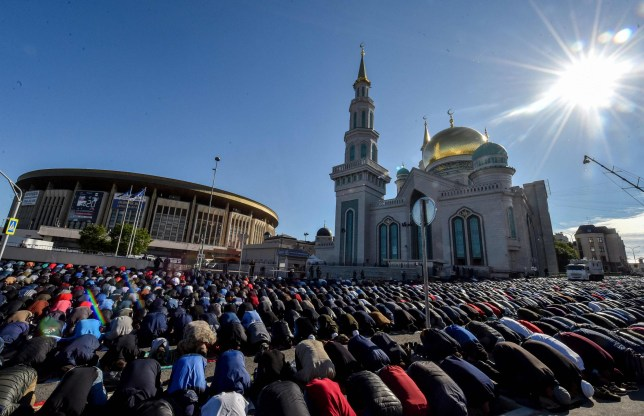 Muslims pray at the central Mosque in Moscow