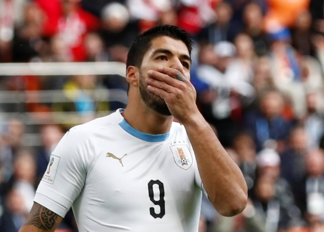 Soccer Football - World Cup - Group A - Egypt vs Uruguay - Ekaterinburg Arena, Yekaterinburg, Russia - June 15, 2018 Uruguay's Luis Suarez reacts after missing a chance to score REUTERS/Damir Sagolj