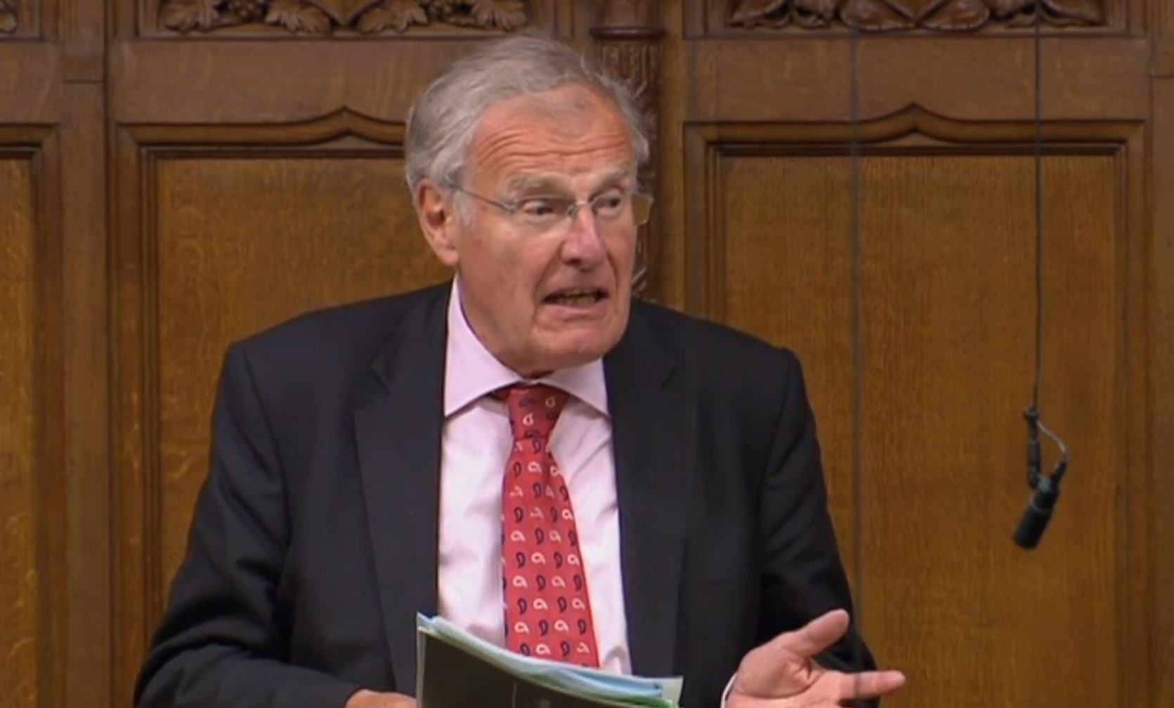 """Sir Christopher Chope speaking in the House of Commons, London as Government-backed plans to criminalise upskirting have been derailed after being opposed by the Conservative grandee. PRESS ASSOCIATION Photo. Picture date: Friday June 15, 2018. There were cries of """"shame!"""" as Sir Christopher dealt a blow to campaigners after announcing he objected to the Voyeurism (Offences) Bill which would make it illegal for offenders to take a picture under someone's clothing without their consent. See PA story POLITICS Upskirting. Photo credit should read: PA Wire"""