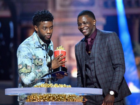 Chadwick Boseman hands over his Best Hero MTV Award to real-life hero James Shaw Jr