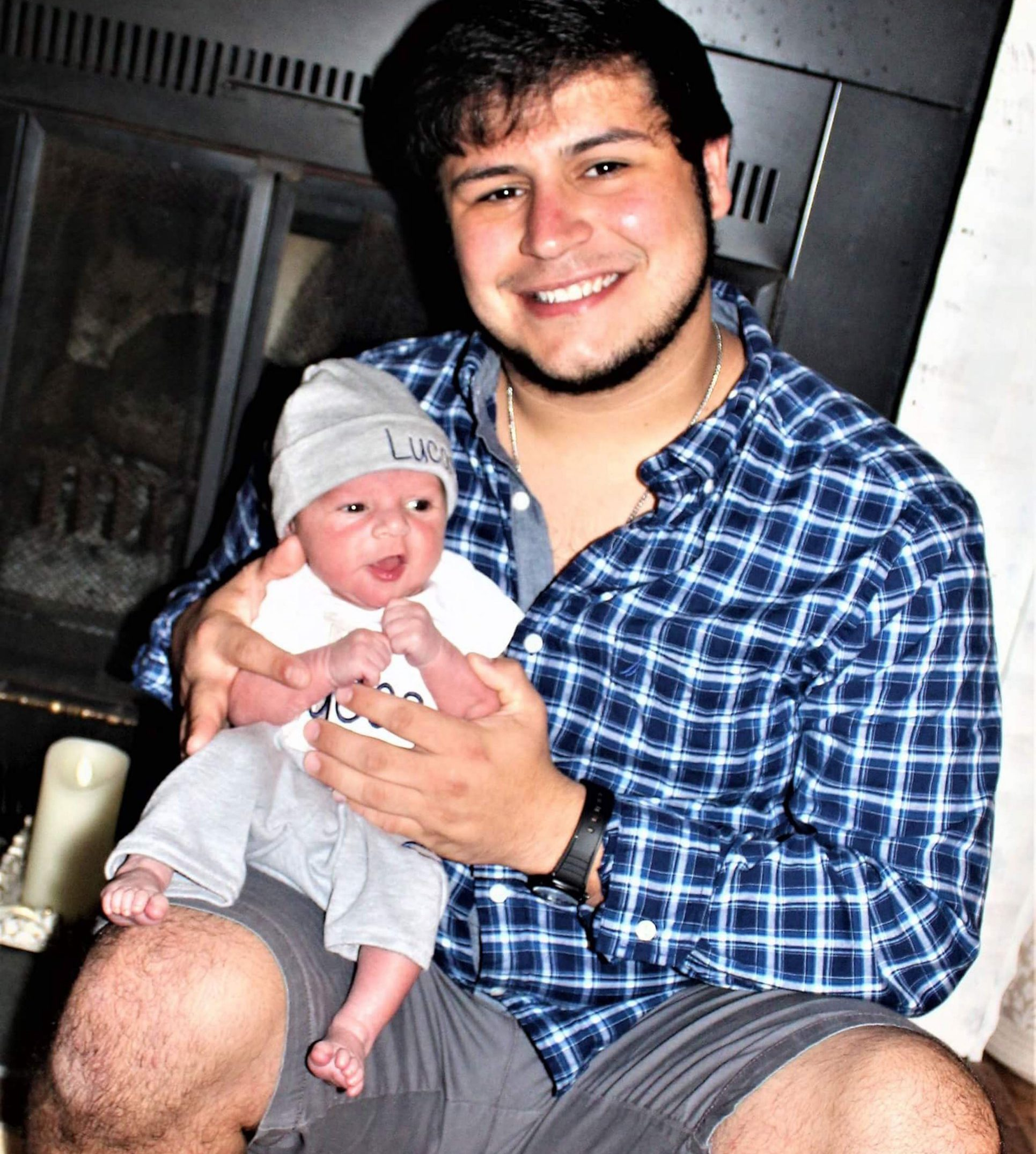 MERCURY PRESS. North Carolina, US. 19/6/18. Pictured: Carmine Martino with Lucas Martino. The heartbroken parents of a two-month-old boy who suffocated after his dad fell asleep with him on his chest have shared their anguish in a bid to warn others of the dangers of co-sleeping. Tragic Lucas John Martino died after falling between his dads arm and the sofa after the exhausted new parents fell asleep following a perfect day' spent as a family on November 26 last year. Mum Haley Gavrilis, 20, woke up to find Lucas's dad Carmine Martino, 20, asleep on the sofa and assumed Lucas was in his basket - but she started to panic when she couldnt find him and woke Carmine up. SEE MERCURY COPY