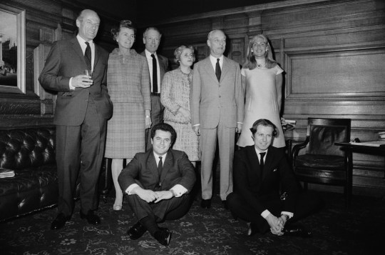 FRANCE - APRIL 27: From Left To Right: Baron Elie De Rothschild, His Wife Liliane (Born Baroness Of Fould-Springer), His Brother Alain De Rothschild And His Wife Mary (Born Chauvin Du Treuil), Their Cousin Guy De Rothschild And His Wife Marie-Helene (Born De Zuylen De Nyevelt Van De Haar). Kneeling: Nathaniel De Rothschild, The Son Of Elie, And Eric De Rothschild, The Son Of Alain, On April 27, 1967. (Photo by Keystone-France/Gamma-Keystone via Getty Images)