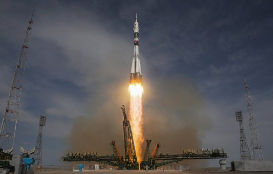 Russia's Soyuz MS-09 spacecraft carrying the members of the International Space Station (ISS) expedition 56/57, NASA astronaut Serena Aunon-Chancellor, Roscosmos cosmonaut Sergey Prokopyev and German astronaut Alexander Gerst, blasts off to the ISS from the launch pad at the Russian-leased Baikonur cosmodrome on June 6, 2018. (Photo by Vyacheslav OSELEDKO / AFP) (Photo credit should read VYACHESLAV OSELEDKO/AFP/Getty Images)