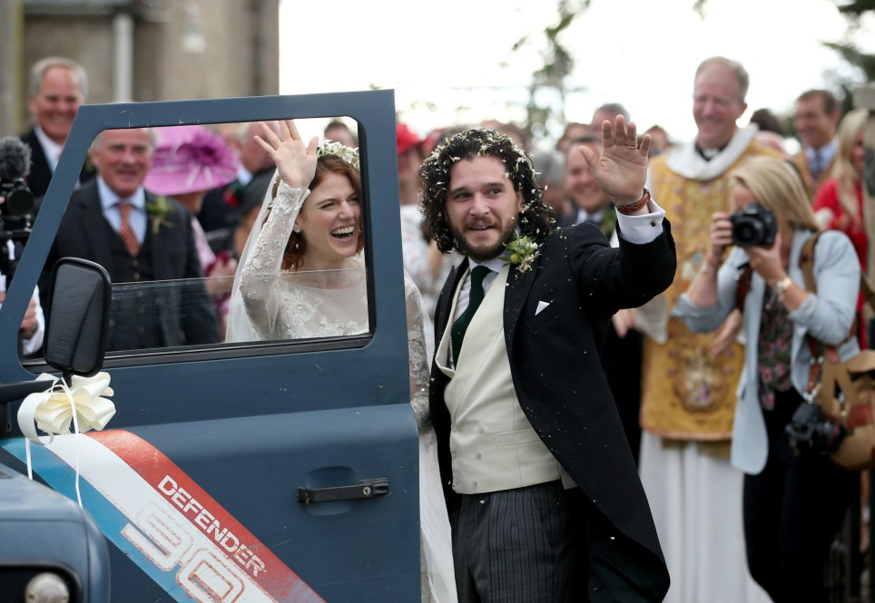 Kit Harington and Rose Leslie at Rayne Church, Kirkton of Rayne in Aberdeenshire, after their wedding. PRESS ASSOCIATION Photo. Picture date: Saturday June 23, 2018. See PA story SHOWBIZ Snow. Photo credit should read: Jane Barlow/PA Wire