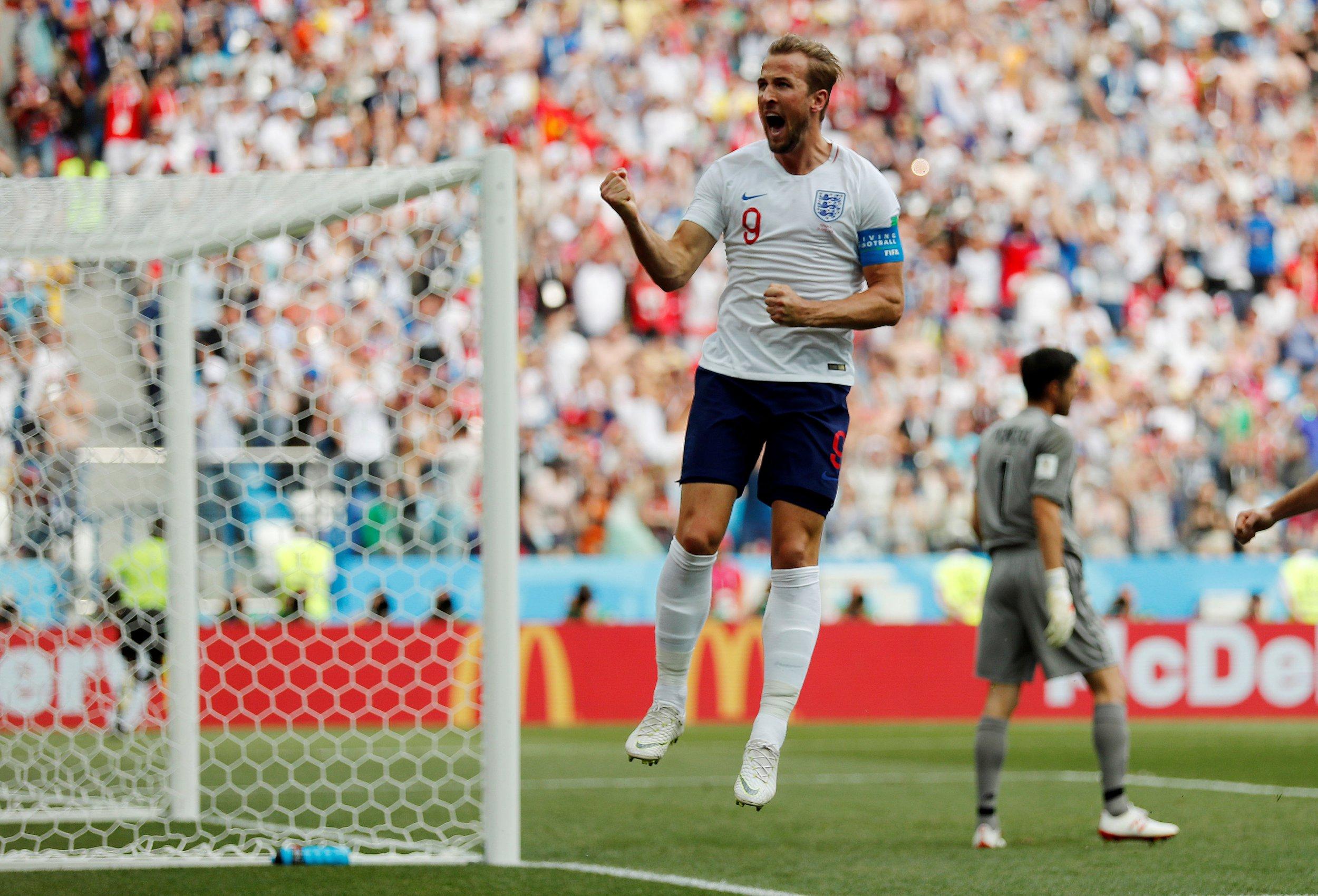 Soccer Football - World Cup - Group G - England vs Panama - Nizhny Novgorod Stadium, Nizhny Novgorod, Russia - June 24, 2018 England's Harry Kane celebrates scoring their second goal REUTERS/Carlos Barria