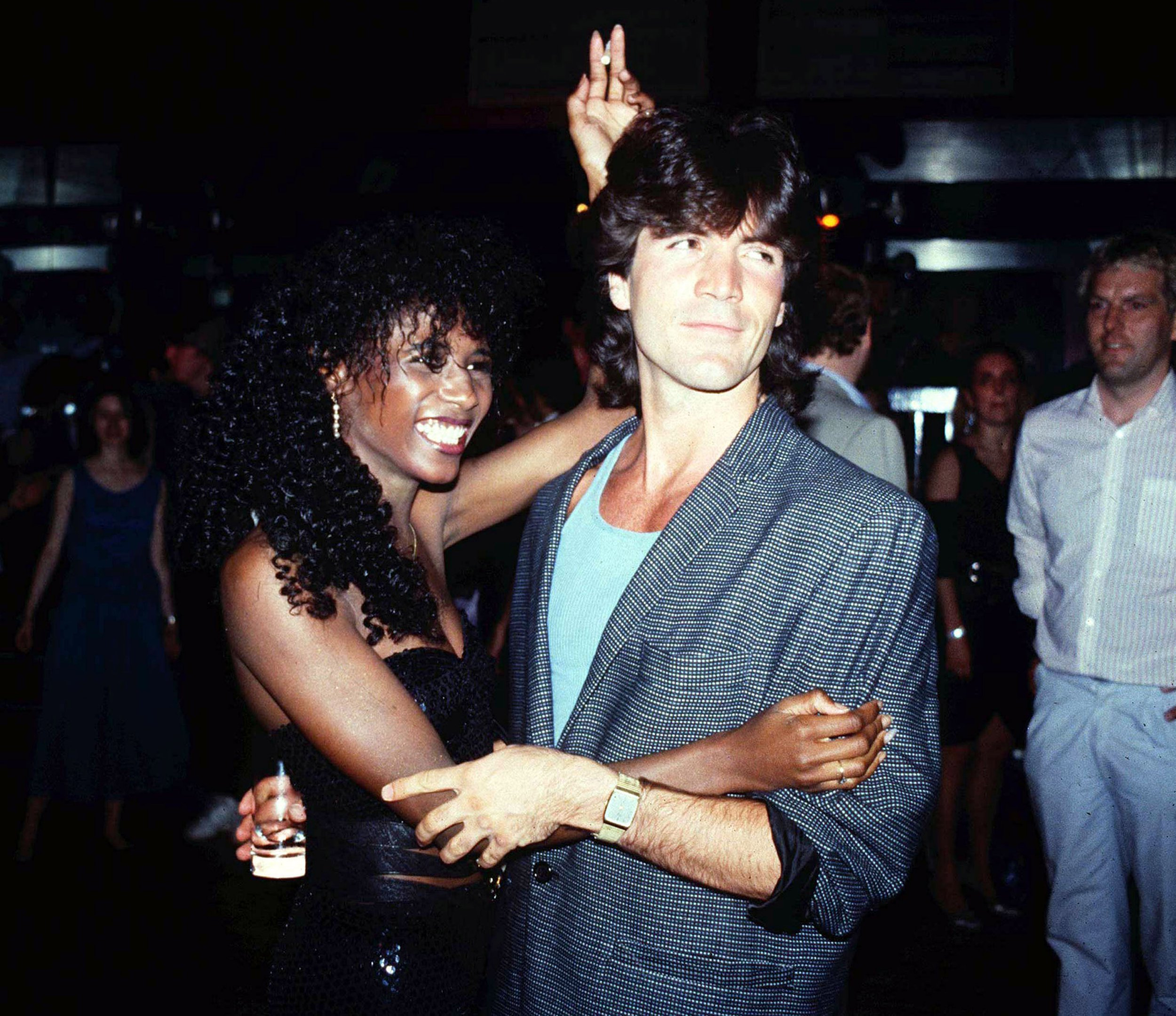 Photo must be credited ??Alpha 003 18/07/85 Sinitta and Simon Cowell at the Mutiny On The Bounty Party held at Legends in London