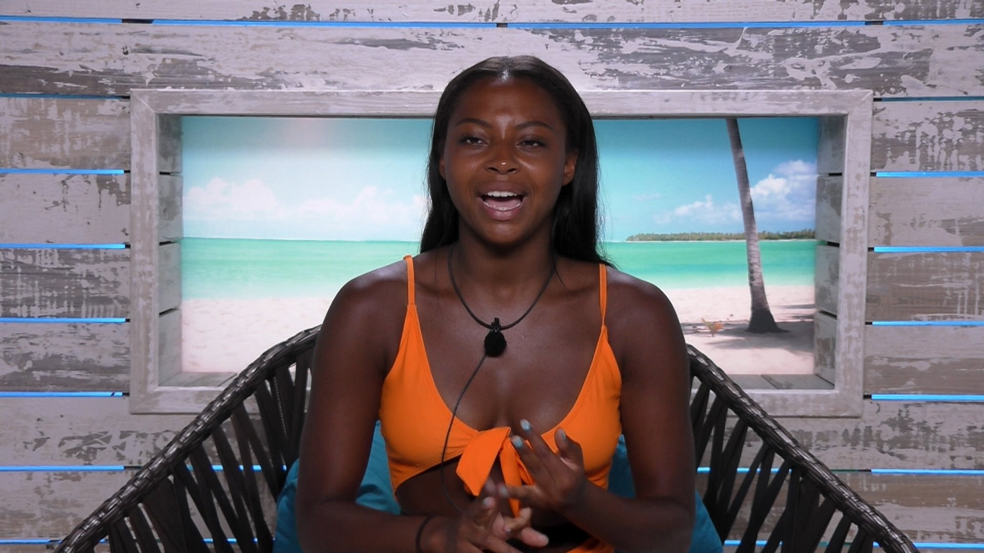 From ITV Studios Love Island: SR4: Ep23 on ITV2 Pictured: Samira unsure of Georgia and Sam kiss. This photograph is (C) ITV Plc and can only be reproduced for editorial purposes directly in connection with the programme or event mentioned above, or ITV plc. Once made available by ITV plc Picture Desk, this photograph can be reproduced once only up until the transmission [TX] date and no reproduction fee will be charged. Any subsequent usage may incur a fee. This photograph must not be manipulated [excluding basic cropping] in a manner which alters the visual appearance of the person photographed deemed detrimental or inappropriate by ITV plc Picture Desk. This photograph must not be syndicated to any other company, publication or website, or permanently archived, without the express written permission of ITV Plc Picture Desk. Full Terms and conditions are available on the website www.itvpictures.co.uk For further information please contact: james.hilder@itv.com / 0207 157 3052