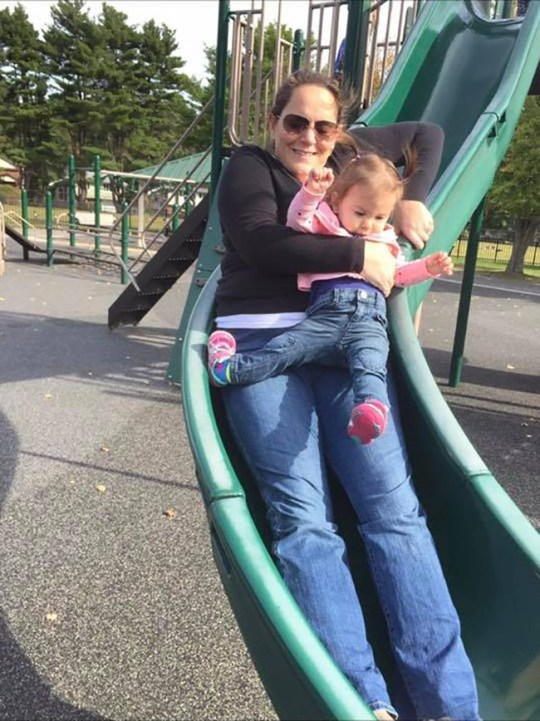A mother, Heather Clare, whose one-year-old daughter broke her leg while they went down a slide together has warned other parents never to go on a slide with their child.