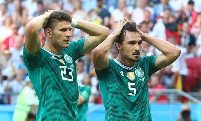 Soccer Football - World Cup - Group F - South Korea vs Germany - Kazan Arena, Kazan, Russia - June 27, 2018 Germany's Mario Gomez and Mats Hummels react after a missed chance REUTERS/Michael Dalder
