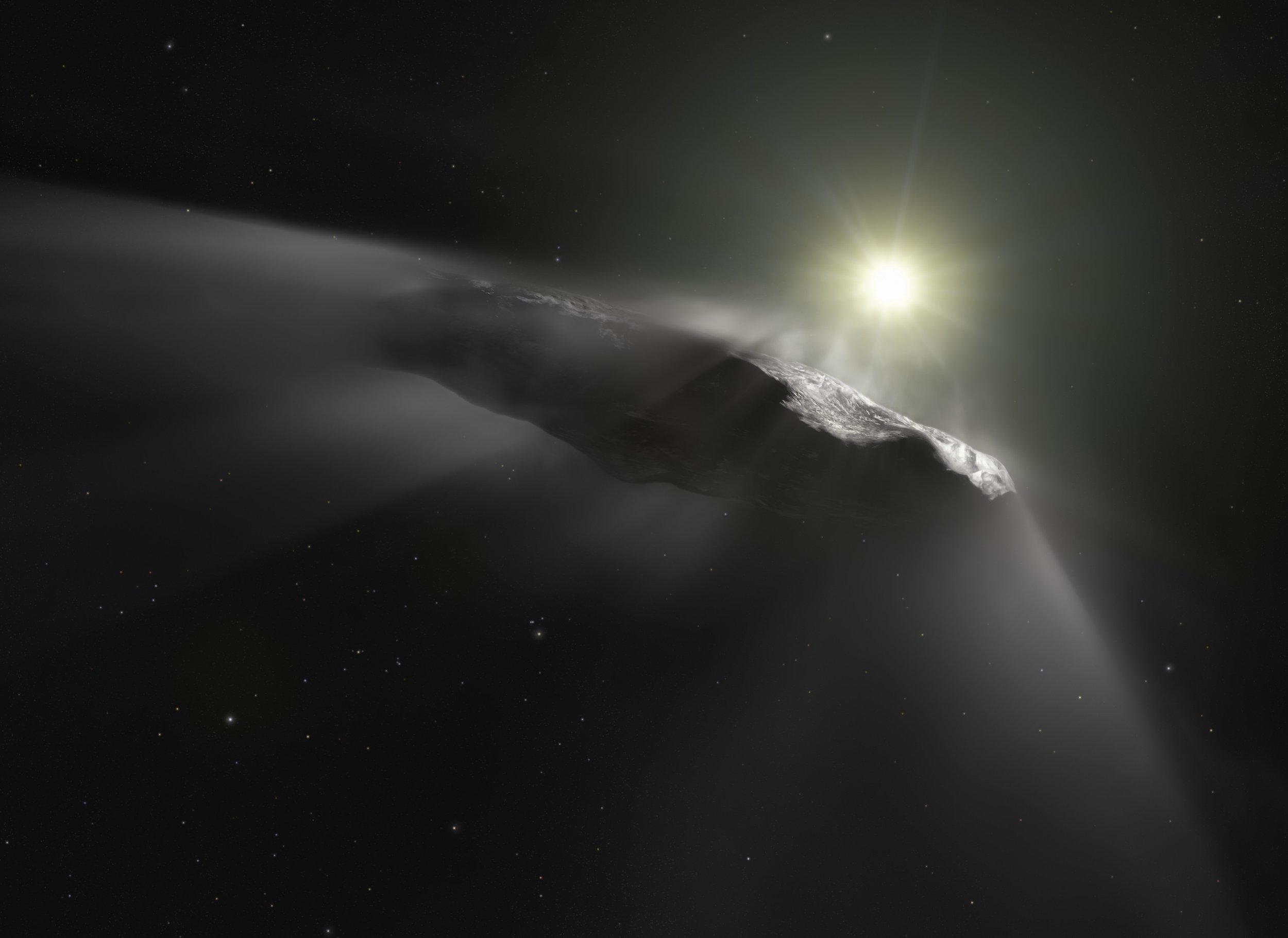 This artist???s impression shows the first interstellar object discovered in the Solar System, `Oumuamua. Observations made with the NASA/ESA Hubble Space Telescope and others show that the object is moving faster than predicted while leaving the Solar System. Researchers assume that venting material from its surface due to solar heating is responsible for this behaviour. This outgassing can be seen in this artist???s impression as a subtle cloud being ejected from the side of the object facing the Sun. As outgassing is a behaviour typical for comets, the team thinks that `Oumuamua???s previous classification as an interstellar asteroid has to be corrected.
