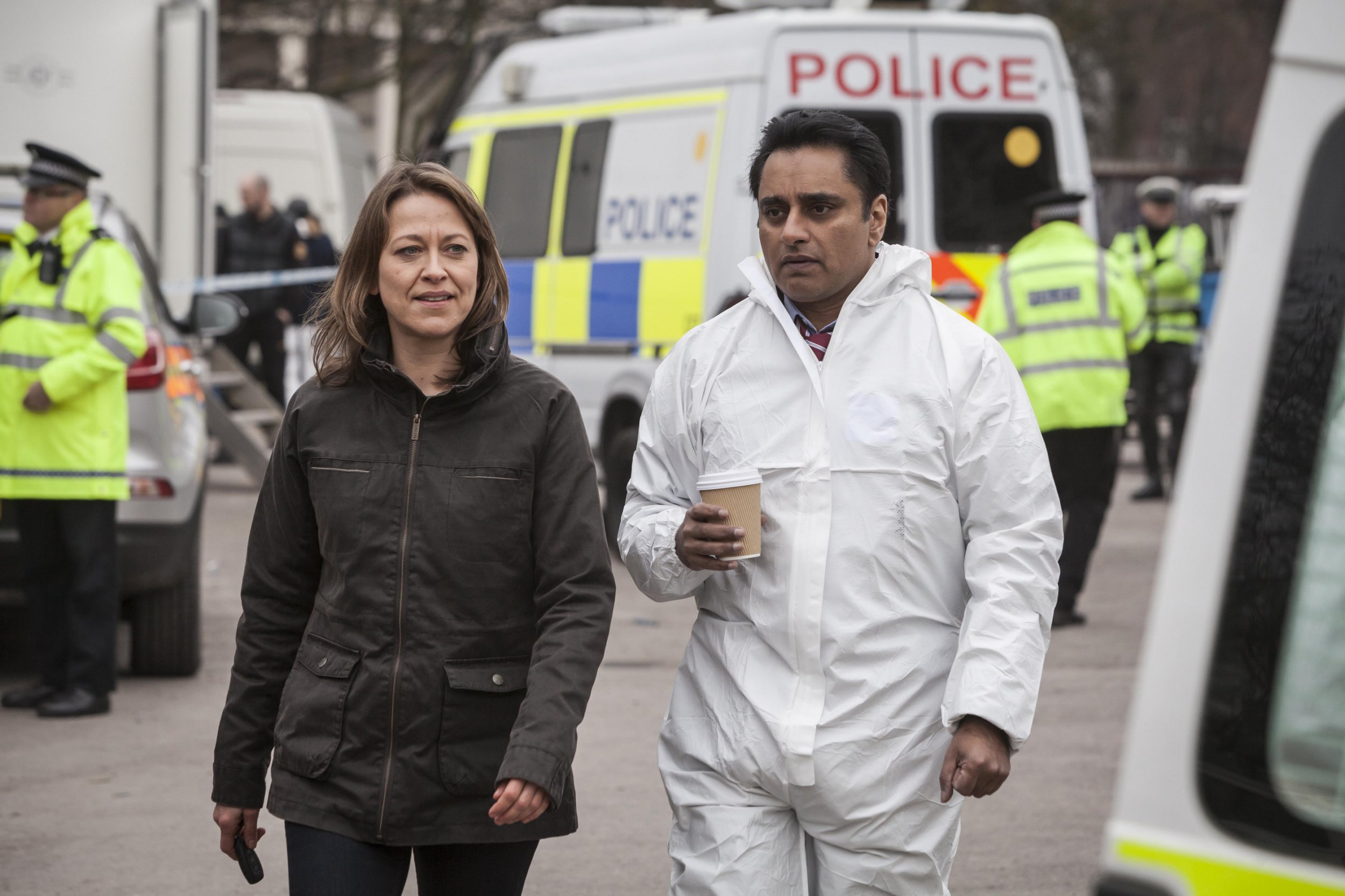 Television programme: UNFORGOTTEN EPISODE 1 Pictured : NICOLA WALKER as DCI Cassie Stuart and SANJEEV BHASKAR as DS Sunil Khan. Photographer: JOHN ROGERS This image is the copyright of ITV and must be credited. The images are for one use only and to be used in relation to UNFORGOTTEN, any further usage could incur a fee. MAINSTREET PICTURES FOR ITV