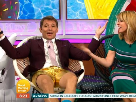 Ben Shephard leaves Kate Garraway flustered as he squeezes into tiny gold shorts: 'It's your fault'