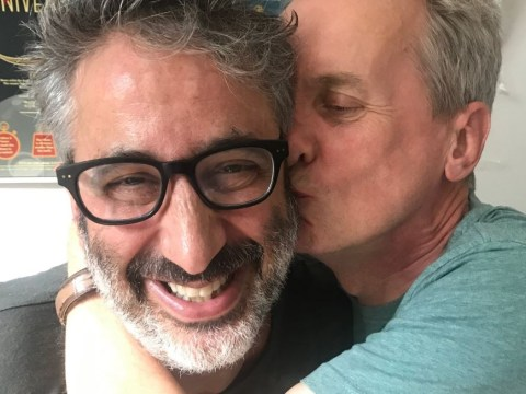 Frank Skinner plants a kiss on David Baddiel as England slam through to the World Cup semi-finals