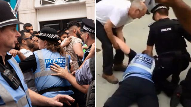 Female police officer knocked to ground during EDL protest over new mosque