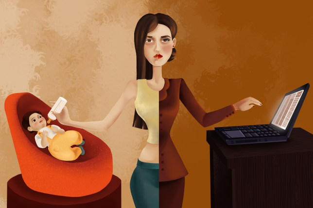Illustrative image of professional woman feeding her baby while using laptop