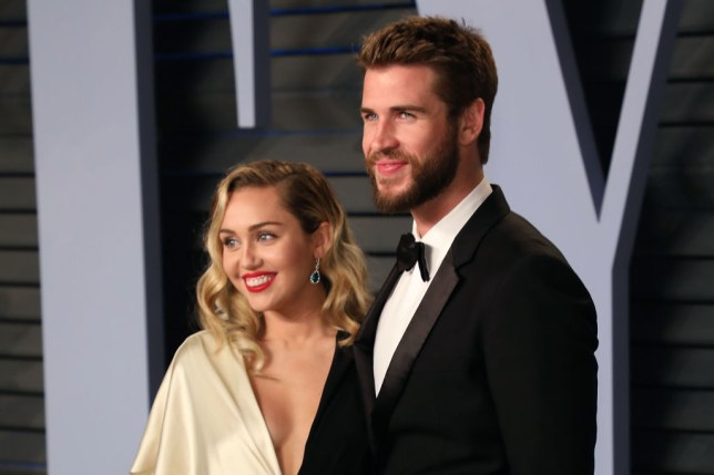 Miley Cyrus and Liam Hemsworth at Vanity Fair party