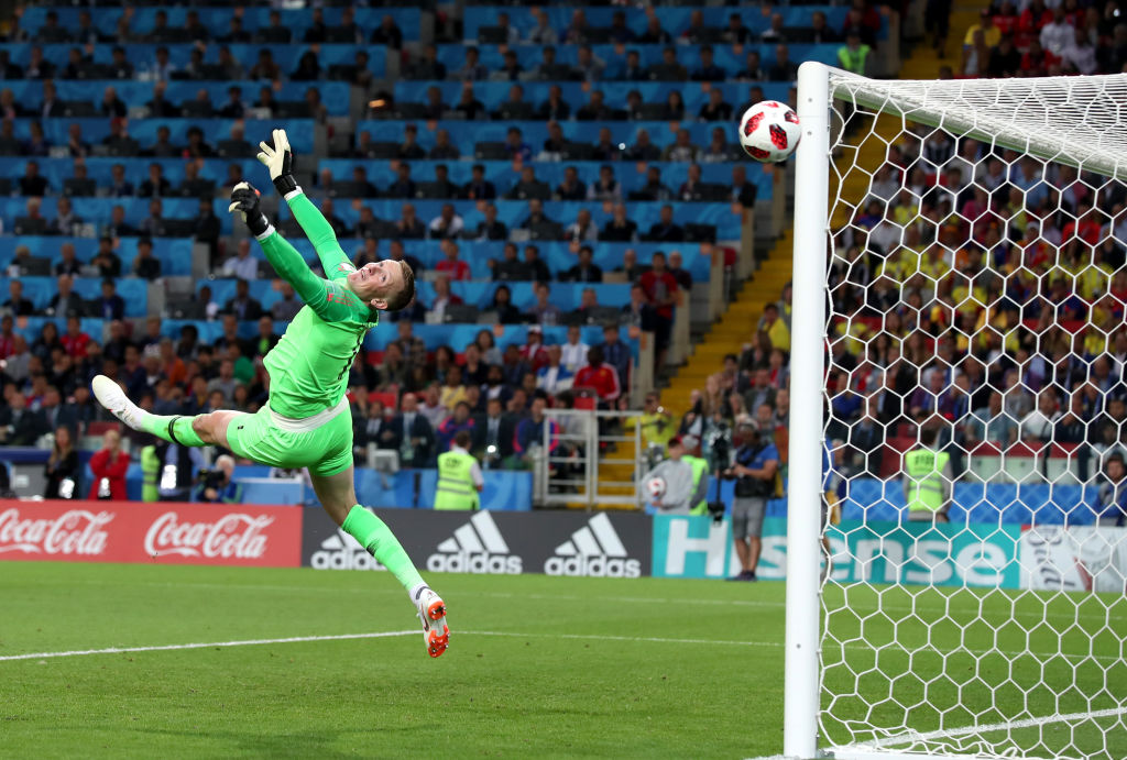 Gareth Southgate reacts to Jordan Pickford's miracle World Cup save against Colombia